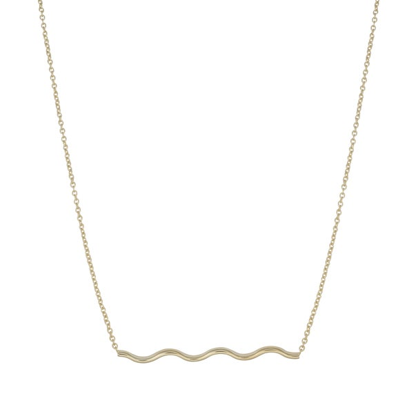 Fremada 14k Yellow Gold High Polish Stylish Wavy Bar Necklace