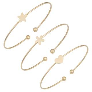 Fremada 14k Yellow Gold High Polish Cuff Bracelet (heart, flower or star)