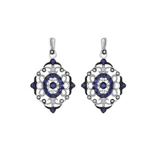 925 sterling silver sapphire and diamond earring