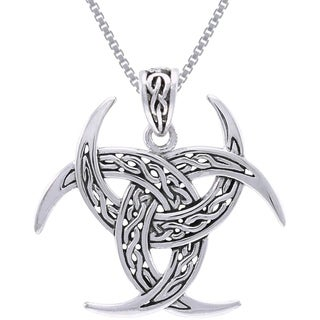 CGC Sterling Silver Celtic Trinity Knot Triple Crescent Moon Necklace