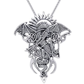 CGC Sterling Silver Celtic Knotwork Fire Dragon Necklace
