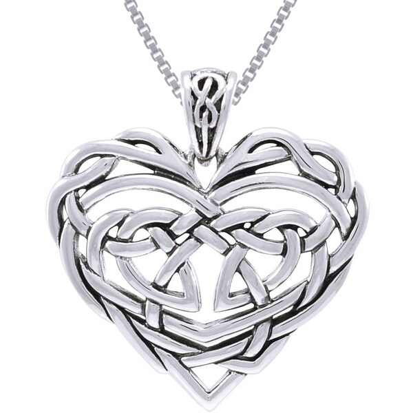 CGC Sterling Silver Celtic Lace Heart Necklace