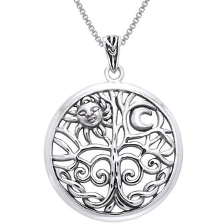 CGC Sterling Silver Celtic Sun Moon Tree of Life Necklace