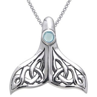 Carolina Glamour Collection Sterling Silver Celtic Knot Whale Tail Blue Topaz Necklace