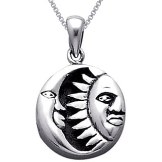 CGC Sterling Silver Celestial Sun Moon Black Onyx Necklace