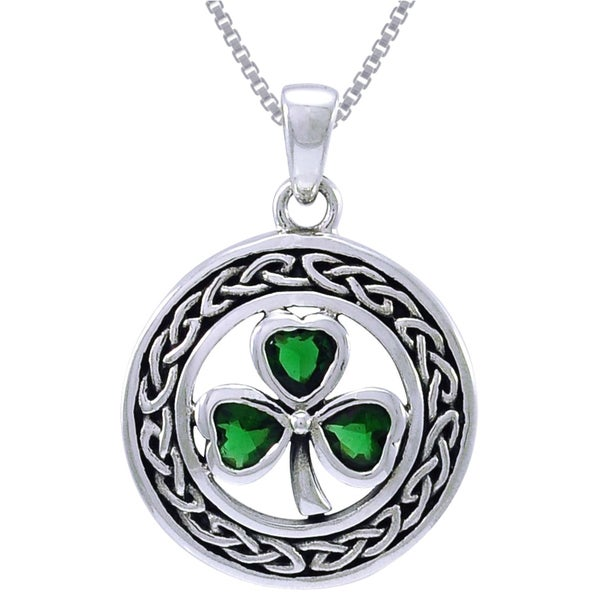 CGC Sterling Silver Celtic Clover Emerald Green Glass Crystals Necklace