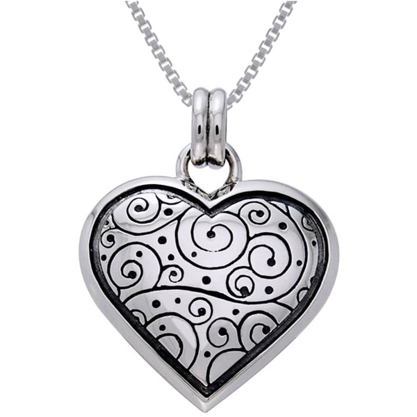 CGC Sterling Silver Celtic Spiral Heart Necklace