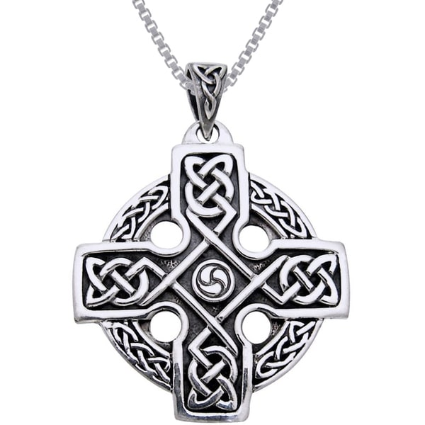 CGC Sterling Silver Celtic Trinity Solar Cross Knotwork Necklace