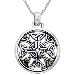 CGC Sterling Silver Celtic Trinity Knotwork Cross Medallion Goldplated Accent Necklace
