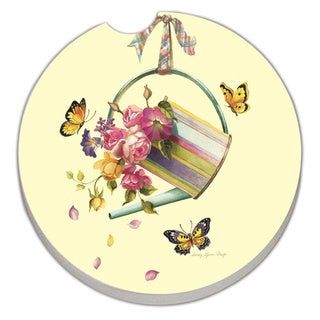 Counterart Absorbent Stone Car Coaster Flowers in Watering Can (Set of 2)