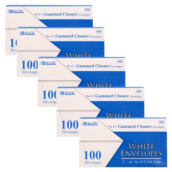 Bazic #6 3/4 Gummed Closure White Mailing Envelopes, 3 5/8 x 6 1/2, Pack of 500