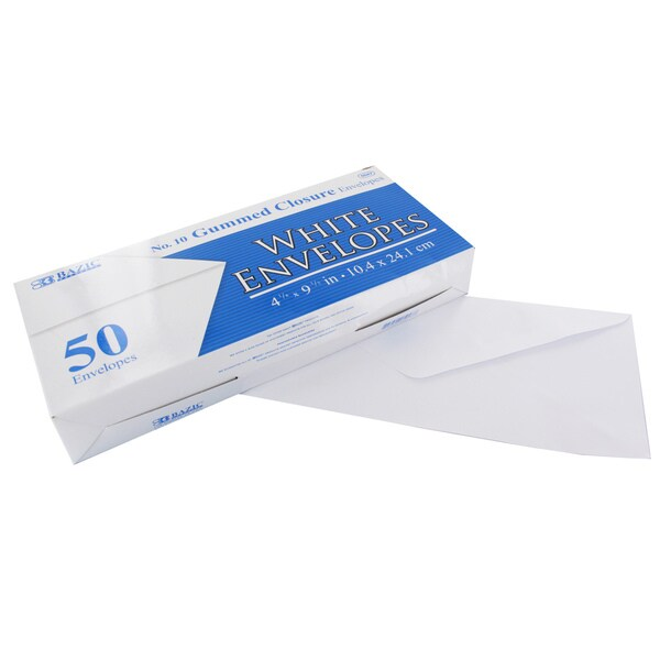 Bazic #10 Gummed Closure White Mailing Envelopes, 4 1/8 x 9 1/2, Pack of 50