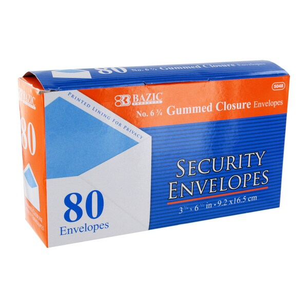 Bazic #6 3/4 Gummed Closure White Security Mailing Envelopes, 3 5/8 x 6 1/2 (Pack of 80)