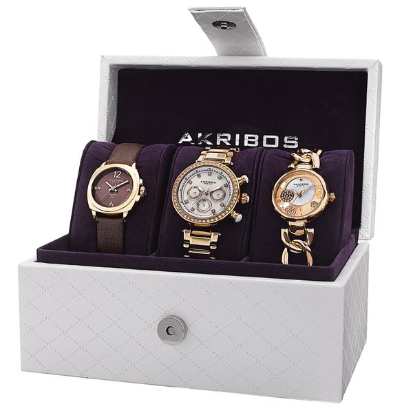 Akribos XXIV Women's Quartz Multifunction Diamond Gold-Tone Strap/Bracelet Watch Set with GIFT BOX - Gold 15467229