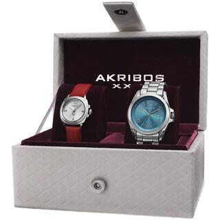 Akribos XXIV Women's Swiss Quartz Diamond Date Indicator Silver-Tone Watch Set