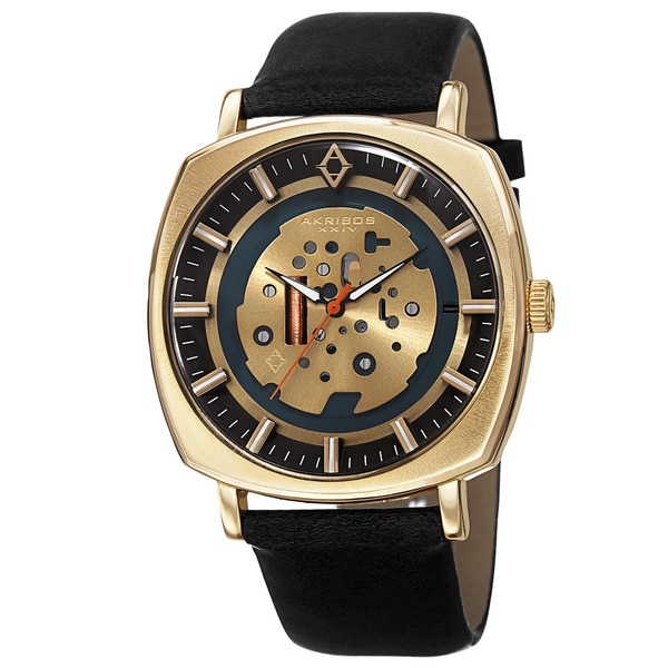 Akribos XXIV Men's Quartz Imitated Skeleton Dial Antique Leather Gold-Tone Strap Watch with Gift Box - Gold 15467657