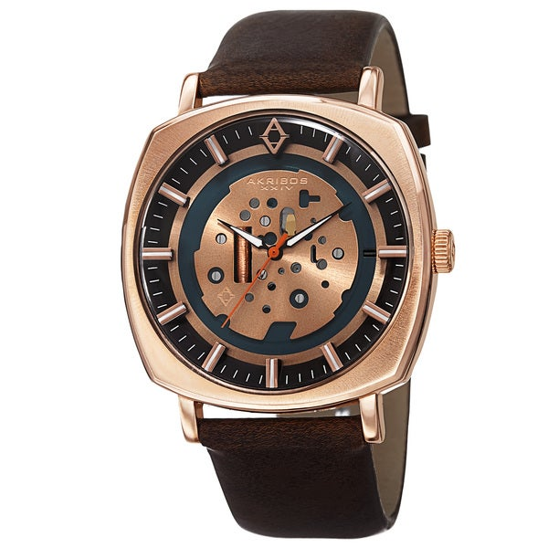 Akribos XXIV Men's Quartz Imitated Skeleton Dial Antique Leather Rose-Tone Strap Watch with Gift Box - Gold 15467676