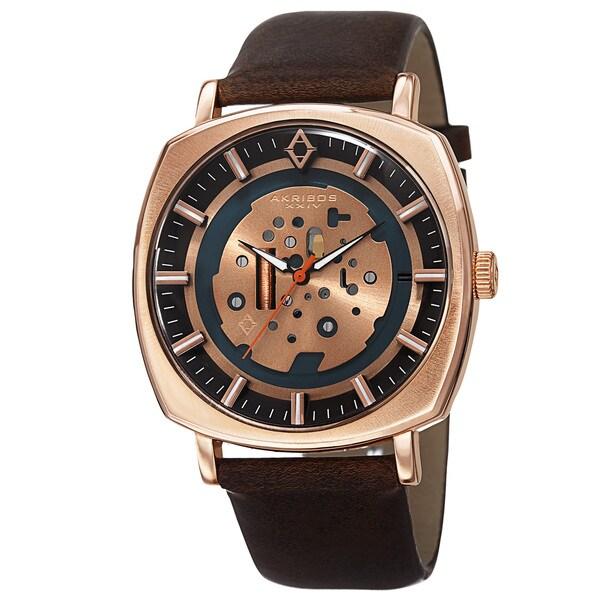 Akribos XXIV Men's Quartz Imitated Skeleton Dial Antique Leather Rose-Tone Strap Watch - Gold 15467676