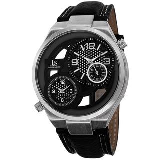 Joshua & Sons Men's Swiss Quartz Dual Time Leather Silver-Tone Strap Watch