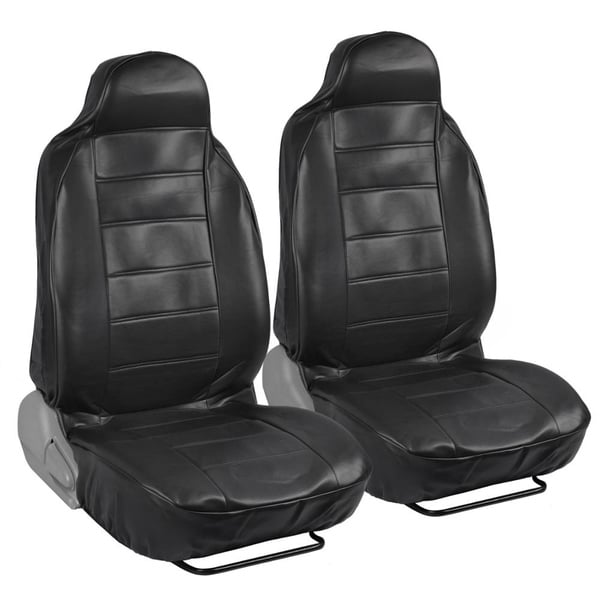 Deluxe High Black Back Leatherette Seat Covers (Front Pair)