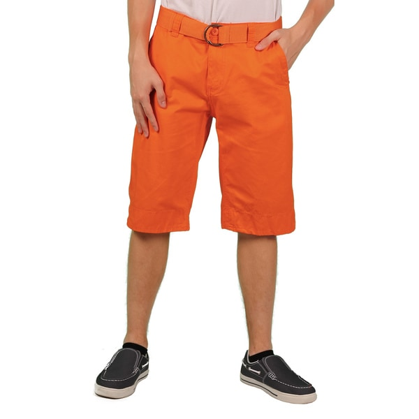 MO7 Men's Orange Enzyme Wash Belted Chino Short