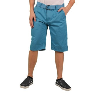 MO7 Men's Blue Enzyme Wash Belted Chino Short