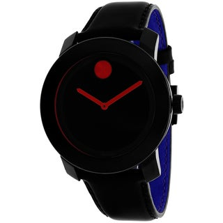 Movado Men's 3600246 Bold Round Black Leather Strap Watch