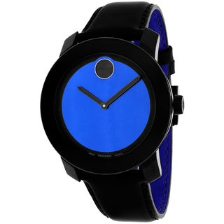 Movado Men's 3600052 Bold Round Black Leather Strap Watch