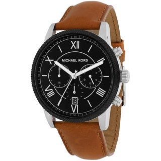 Michael Kors Men's MK8394 Hawthorne Round Brown Leather Strap Watch