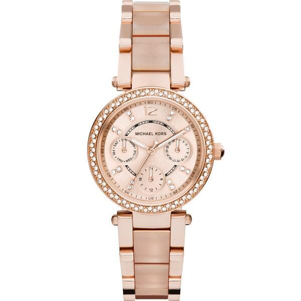 Michael Kors Women's MK6110 Parker Round Rose Gold-tone with Blush Acetate Bracelet Watch