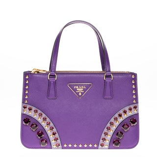 Prada Saffiano Leather Purple Embellished Mini Tote