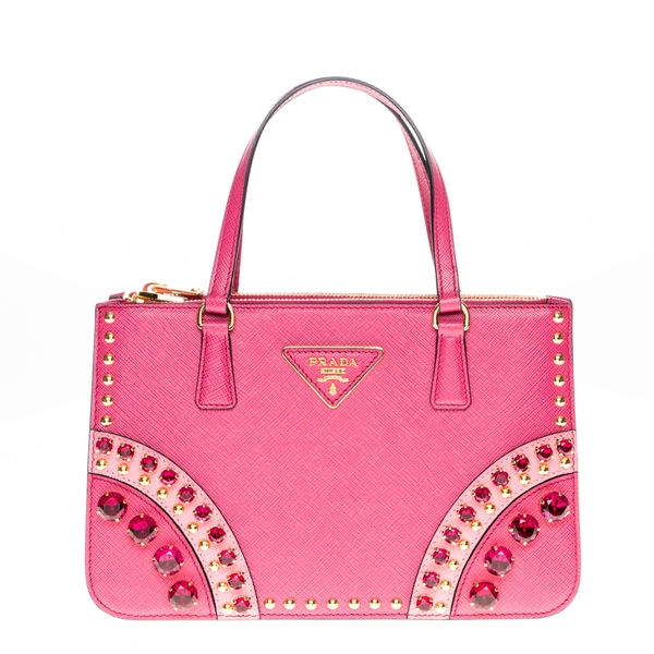 Prada Saffiano Leather Pink Embellished Mini Tote