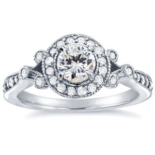 Annello 14k White Gold 4/5ct TDW Round-cut Diamond Antique Halo Engagement Ring (H-I, I1-I2)