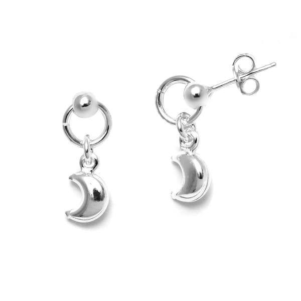 Italian Sterling Silver Ball Hoop Dangle Moon Charm Stud Earrings