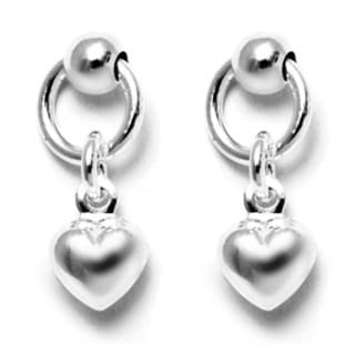 Italian Sterling Silver Ball Dangle Heart Charm Hoop Stud Earrings