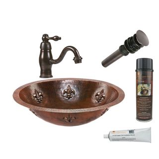 Premier Copper Products Oval Fleur De Lis Under Counter Hammered Copper Sink with Orb Single Handle Faucet