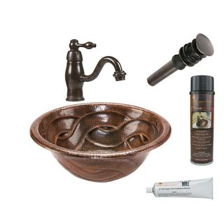 Premier Copper Products Round Braided Self Rimming Hammered Copper Sink with Orb Single Handle Faucet