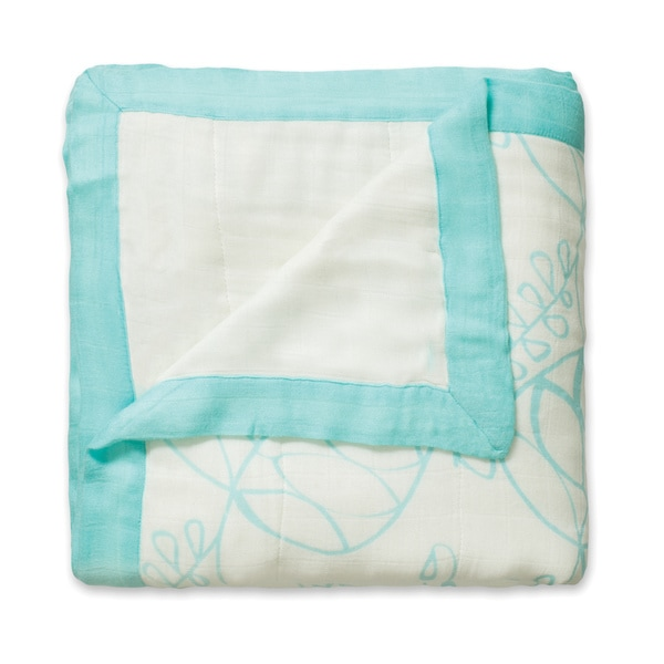 aden + anais Azure Leafy and White Bamboo Dream Blanket