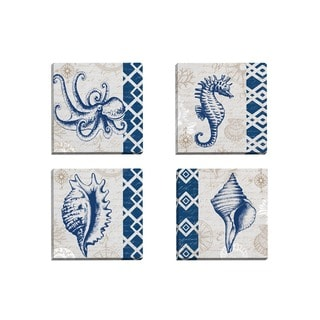 Portfolio Canvas Decor Elena Vladykina 'Tahiti Octopus' Framed Canvas Wall Art (Set of 4)