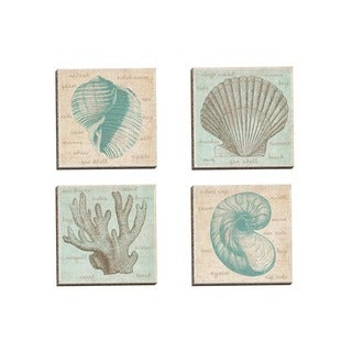Portfolio Canvas Decor Erin Clark 'Sea Study Coral' Framed Canvas Wall Art (Set of 4)