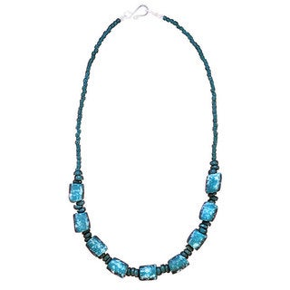 Global Mamas Blue Glass Bead Necklace (Ghana)