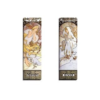 Portfolio Canvas Decor Alphonse Mucha 'Hiver' Framed Canvas Wall Art (Set of 2)