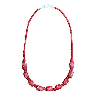 Global Mamas Poppy Marble Necklace (Ghana)