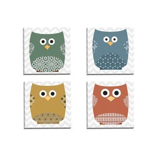 Portfolio Canvas Decor IHD Studio 'Chevron Owls Deep 1' Framed Canvas Wall Art (Set of 4)