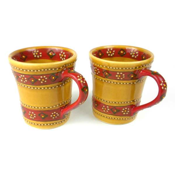 Set of 2 Hand-painted Flared Mugs in Honey Encantada Pottery (Mexico) 15468324