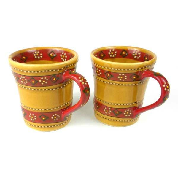 Set of 2 Handmade Flared Mugs in Honey Encantada Pottery (Mexico) 15468324