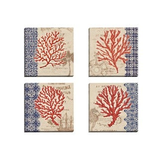 Portfolio Canvas Decor Paul Brent 'Burlap Coral I' Framed Canvas Wall Art (Set of 4)