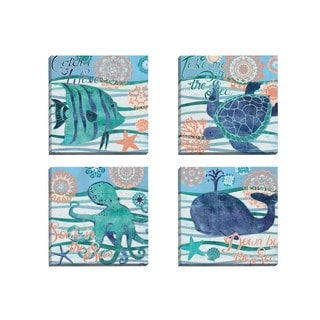Portfolio Canvas Decor Paul Brent 'Seaside Treasures I' Framed Canvas Wall Art (Set of 4)
