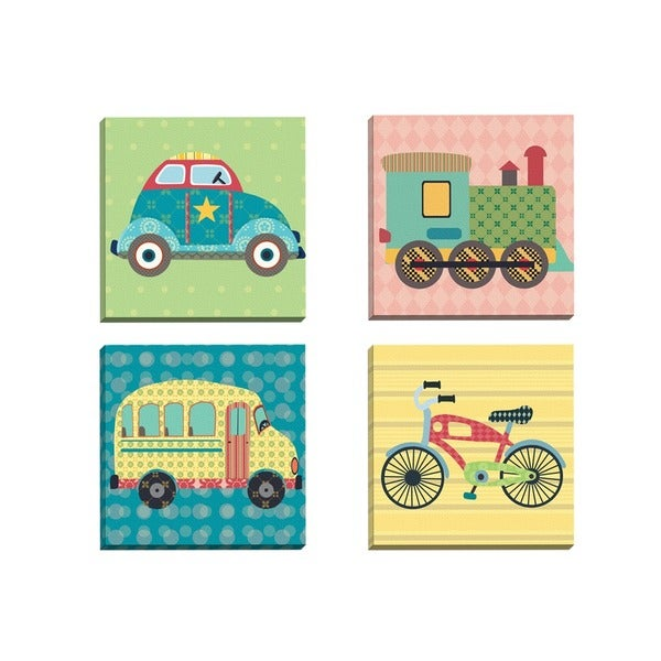 Sandy Doonan 'Getting There Bike' Framed Canvas Wall Art (Set of 4)