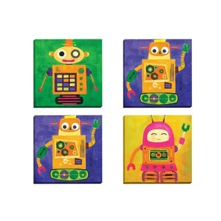 Portfolio Canvas Decor Sandy Doonan 'Robokix 1' Framed Canvas Wall Art (Set of 4)